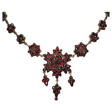 "Antique RED Victorian Bohemian Garnet Necklace 19"""