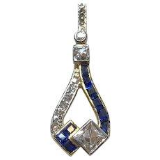"Antique Art Deco Diamond and Sapphire 2"" Pendant in 14K White & Yellow Gold"