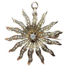 Antique Victorian Gold Pearl & Diamond Victorian Star Pendant-Brooch