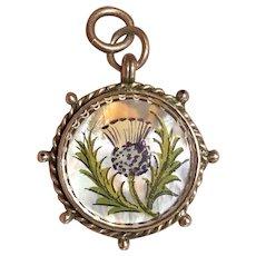 Pristine Scottish Thistle Rampart Lion Victorian English Silver Watch Fob Pendent