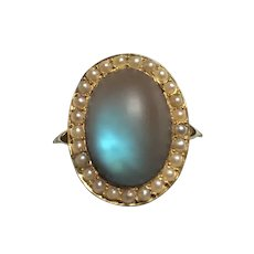 Large Victorian Saphiret 14K Gold & Seed Pearl Ring