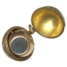 Antique Victorian Rotating Sphere Orb Mourning Locket in Gold Fill