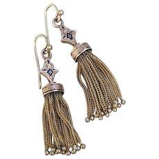 14k Gold Antique Victorian Taille d'Epargne Enamel Tassel Tassle Earrings