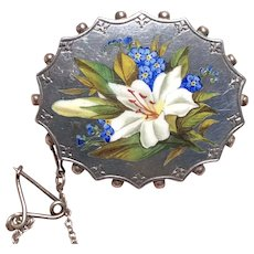 Hand Painted Victorian Silver White Lily & Forget Me Not Enamel Brooch