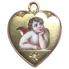 14k Gold Austro-Hungarian Victorian Enamel Angel Cherub Locket