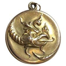 Antique Art Nouveau Dragon Mythical Beast Repousse Slide Locket GF