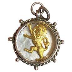 Pristine Rampart Lion Scottish Thistle Victorian English Silver Watch Fob Pendent