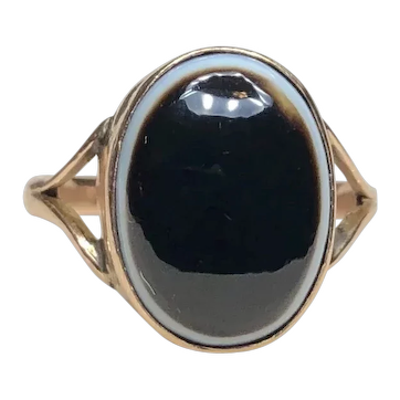 C. 1900 Antique Victorian Banded Agate Bullseye Ring in 9k Rose Gold