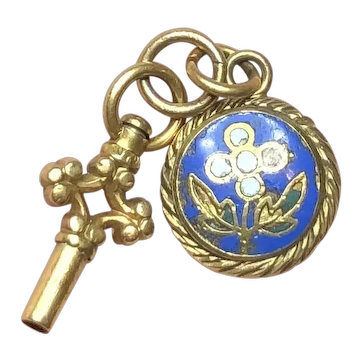 Antique Victorian Enamel Memorial Locket Charm with Watch Key