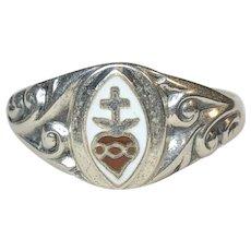 Art Nouveau Enamel Sacred Heart Sterling UNCAS Ring