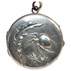 Signed RARE Large Antique German Art Nouveau 800 Silver Spider & Web Repousse Photo Locket