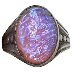 Art Deco Dragon's Breathe Cabochon Sterling Silver Ring