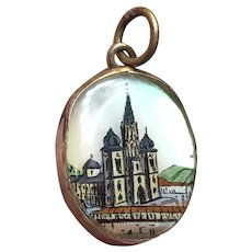 Antique Victorian Hand Painted Religious Pendent Charm on MOP in Rose Gold Fill