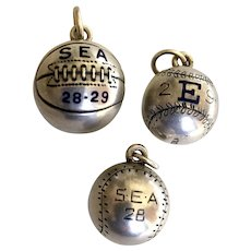 C. 1920s Set Sterling Silver & Enamel Sports Fobs Charms with Engraved Name