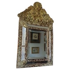 french antique 19th century solid bronze hand made wooden frame Vanity Mirror with beveled glass empire decoration wall mirror