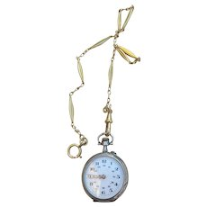 French antique art nouveau 1910S sterling silver 18k gold vermeil engraved flower pocket watch monogram with watch