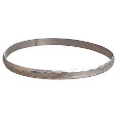 French vintage art deco faceted sterling silver bangle solid sterling bracelet  hand made solid silver sterling bracelet