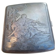 French antique art nouveau hand engraved sterling silver cigarette case cigarette box art nouveau solid silver box engraved with romantic image gravure