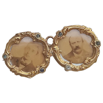 French antique solid 18k gold twin photo holder brooch ornate napoleon III empire design mother of pearl photo miniature portrait pendant collectible