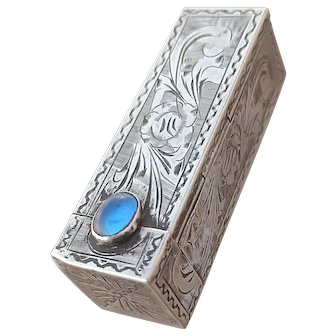 Antique Estate Italy Perezzi sterling Silver 800 Lipstick Tube with Mirror italy made hand engraved box lipstick holder light sapphire glass cabochon