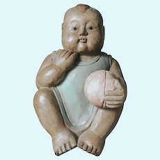 China child wood vintage sculpture