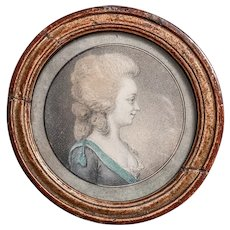 French Noble Lady Drawing Miniature Portrait 18th century