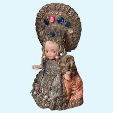 Very Rare Kestner All Bisque Googly Doll in Russian Costume