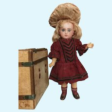 Tiny French Jumeau Bebe size 4 with her Trunk