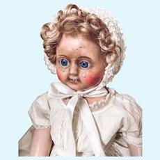 "21"" Motschmann type Papier-Mache Wax  Very Early Doll"