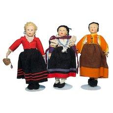 3 Vintage Lenci Mascotte Dolls