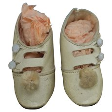 Antique Ivory Leather Doll Shoes - Excellent Condition