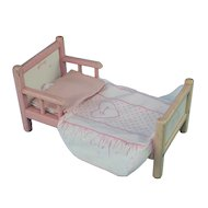 Vintage 1950s Vogue Ginny Bed with Bedspread, Mattress, & Pillow