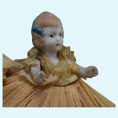"3"" Antique All Bisque Doll in Original Crepe Paper Dress"