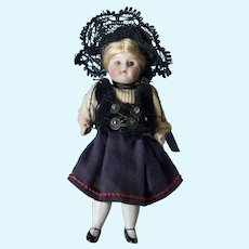 """Tiny 3 3/4"""" All Bisque Doll w All Original Outfit"""