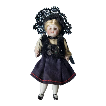 "Tiny 3 3/4"" All Bisque Doll w All Original Outfit"