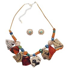 Anasazi Pottery Shard Reproduction Necklace and Earrings Set