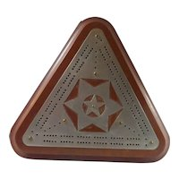 Triangular Cribbage Board with Tin Stars