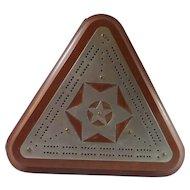 Triangular Cribbage Board with Tin Stars