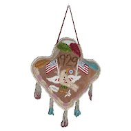 1929 Native American Trilobe Pincushion with American Flags