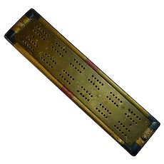 Heavy Brass and Wood Cribbage Board