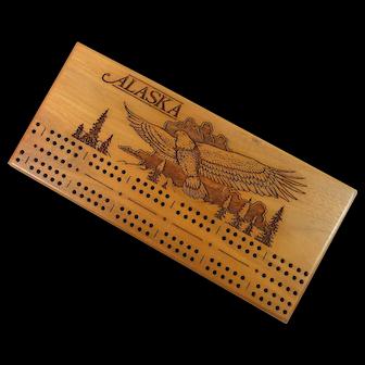 Wooden Cribbage Board –Alaska