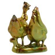 Zsolnay Gold Eosin Figurine of Turkey & Chicken