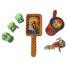 Group of Vintage Tin Toys and Noise Makers