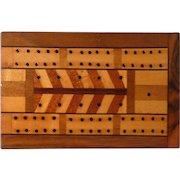 Inlaid Wood Cribbage Box