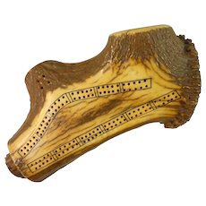 Heavy Bone Cribbage Board – Souvenir of Banff, Canada