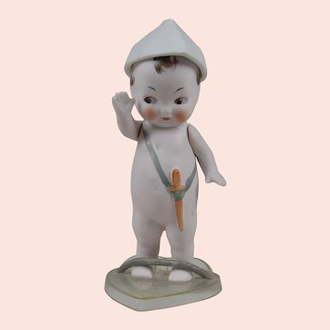 Adorable Jointed Hat German All Bisque Doll - 5.5 Inches