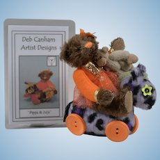"Limited Edition Deb Canham Artist Bear ""Pippa & Juju"" - 3.5 Inches"