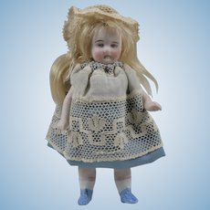 Lovely Painted Eye All Bisque Doll in Charming Blue Outfit - 4.5 Inches