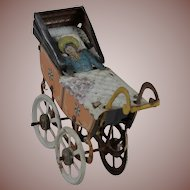 Lovely Doll Accessory German Penny Toy Carriage w Baby