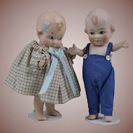 Cute Pair of All Bisque Cupid Dolls - 5.5 Inches